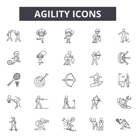 Agility line icons. Editable stroke. Concept illustrations: agile, development, scrum, strategy, methodology, software etc. Agility  outline icons Ilustração