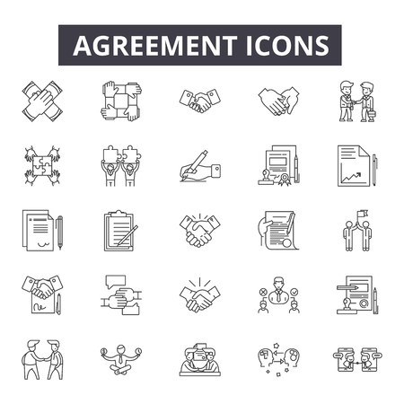 Agreement line icons. Editable stroke. Concept illustrations: contract, partnership, deal, success, office etc. Agreement  outline icons