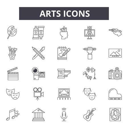 Arts line icons for web and mobile. Editable stroke signs. Arts  outline concept illustrations Banque d'images - 119391930
