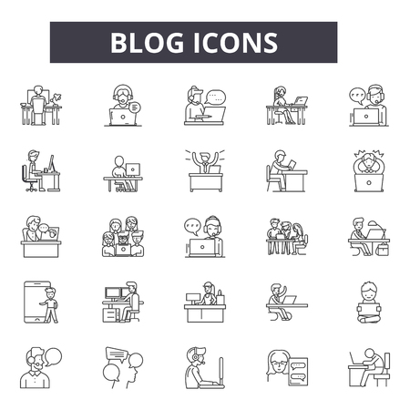 Blog line icons for web and mobile. Editable stroke signs. Blog  outline concept illustrations