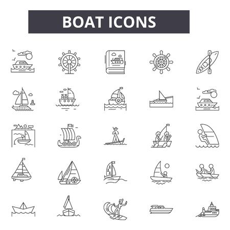 Ikony linii łodzi dla sieci web i mobile. Edytowalne znaki obrysu. Ilustracje koncepcji zarysu łodzi