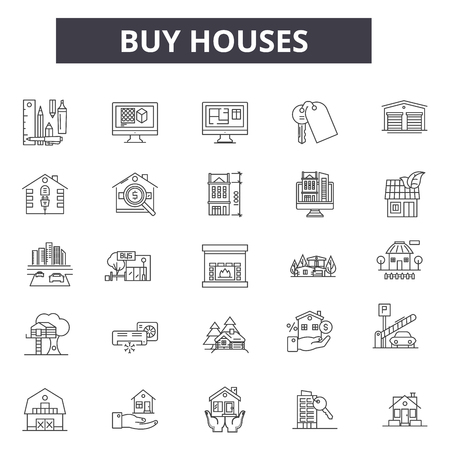 Buy houses line icons for web and mobile. Editable stroke signs. Buy houses  outline concept illustrations Illustration