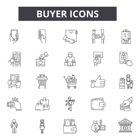 Buyer line icons for web and mobile. Editable stroke signs. Buyer  outline concept illustrations 일러스트