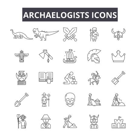 Archaelogists line icons for web and mobile. Editable stroke signs. Archaelogists  outline concept illustrations Ilustração