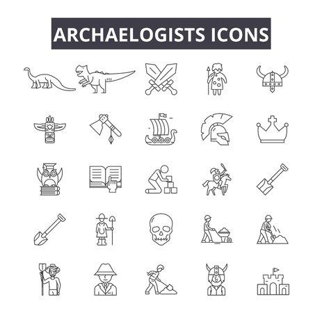 Archaelogists line icons for web and mobile. Editable stroke signs. Archaelogists  outline concept illustrations Illustration