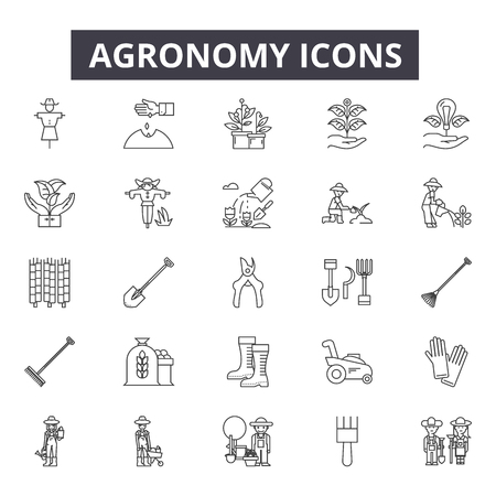 Agronomy line icons. Editable stroke. Concept illustrations: agriculture, farming, plant, farmer, crop, farm industry etc. Agronomy outline icons