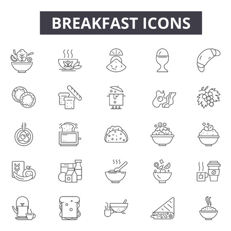 Breakfast line icons for web and mobile. Editable stroke signs. Breakfast  outline concept illustrations