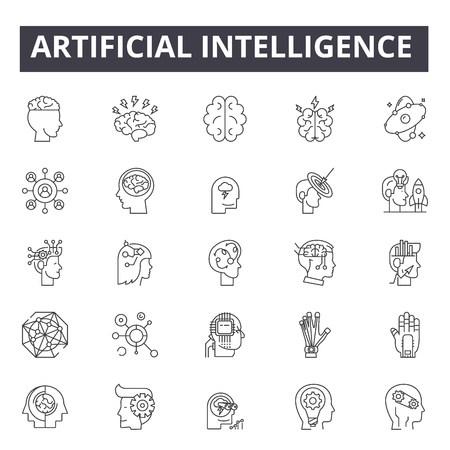 Artificial intelligence line icons for web and mobile design. Editable stroke signs. Artificial intelligence outline concept illustrations Imagens - 124312834