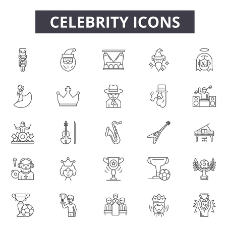 Celebrity line icons for web and mobile. Editable stroke signs. Celebrity  outline concept illustrations Stock Illustratie