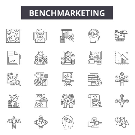 Benchmarketing line icons for web and mobile. Editable stroke signs. Benchmarketing  outline concept illustrations Illustration