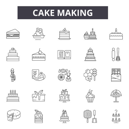 Cake making line icons for web and mobile. Editable stroke signs. Cake making  outline concept illustrations
