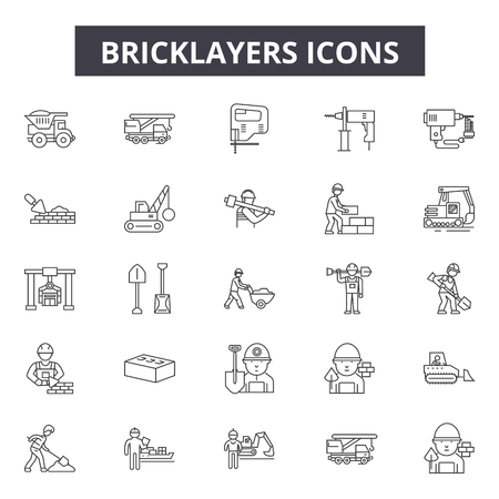 Bricklayers line icons for web and mobile. Editable stroke signs. Bricklayers  outline concept illustrations