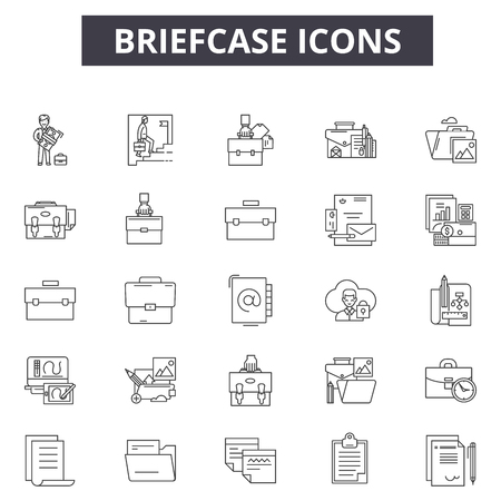 Briefcase line icons for web and mobile. Editable stroke signs. Briefcase outline concept illustrations