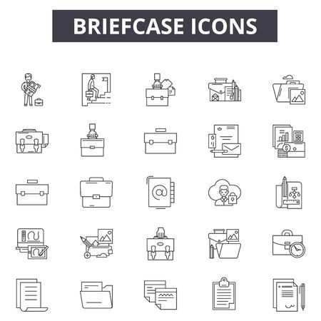 Iconos de línea de maletín para web y móvil. Signos de trazo editables. Ilustraciones del concepto de esquema de maletín