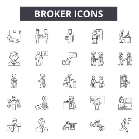 Broker line icons for web and mobile. Editable stroke signs. Broker  outline concept illustrations Illustration