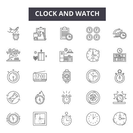 Reloj y reparación de relojes e iconos de líneas de piezas para web y móvil. Signos de trazo editables. Piezas y reparaciones de relojes y relojes, ilustraciones del concepto de esquema Ilustración de vector