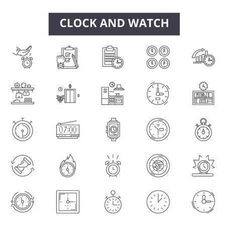 Clock and watch repairs and parts line icons for web and mobile. Editable stroke signs. Clock and watch repairs and parts  outline concept illustrations
