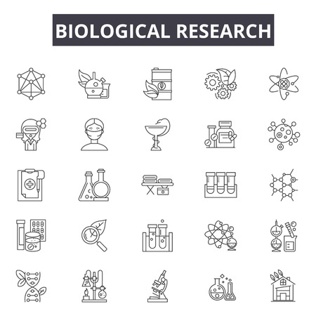 Biological research line icons for web and mobile. Editable stroke signs. Biological research  outline concept illustrations