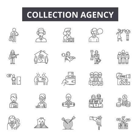Collection agency line icons for web and mobile. Editable stroke signs. Collection agency  outline concept illustrations Çizim