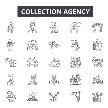 Kolekcja ikony linii dla sieci web i mobile. Edytowalne znaki obrysu. Ilustracje zarys koncepcji agencji windykacyjnej