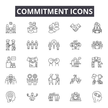 Commitment line icons for web and mobile. Editable stroke signs. Commitment  outline concept illustrations Illusztráció