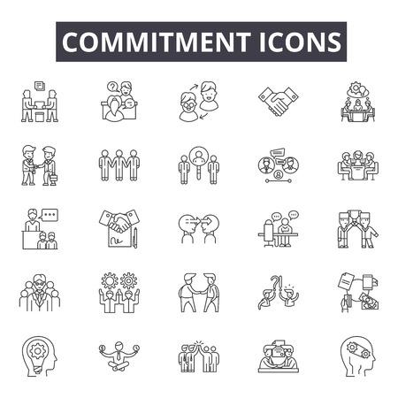 Iconos de línea de compromiso para web y móvil. Signos de trazo editables. Ilustraciones del concepto de esquema de compromiso