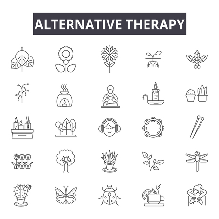 Alternative therapy line icons for web and mobile. Editable stroke signs. Alternative therapy  outline concept illustrations Ilustrace