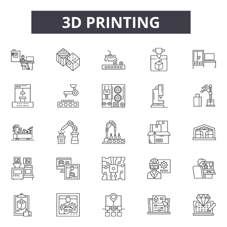 3d printing line icons. Editable stroke. Concept illustrations: manufacturing,technology,3d,plastic,print,design,equipment etc. 3d printing  outline icons Иллюстрация