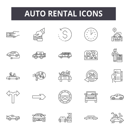 Auto rental line icons for web and mobile. Editable stroke signs. Auto rental  outline concept illustrations Illustration