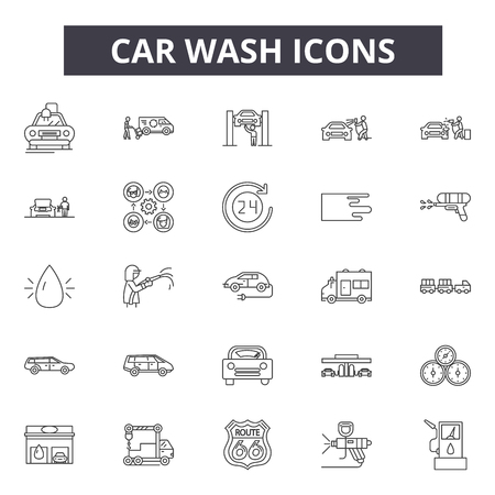 Car wash line icons for web and mobile. Editable stroke signs. Car wash  outline concept illustrations