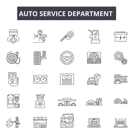Auto service department line icons for web and mobile. Editable stroke signs. Auto service department  outline concept illustrations