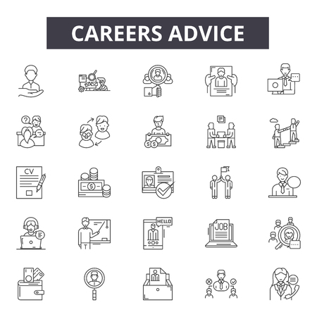 Career advice line icons for web and mobile. Editable stroke signs. Career advice  outline concept illustrations