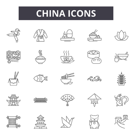 China line icons for web and mobile. Editable stroke signs. China  outline concept illustrations