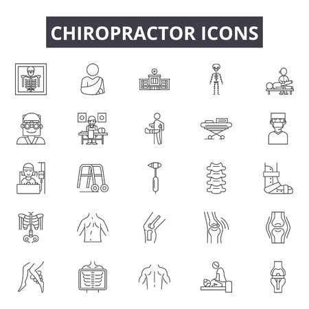 Chiropractor line icons for web and mobile. Editable stroke signs. Chiropractor  outline concept illustrations 免版税图像 - 119391312