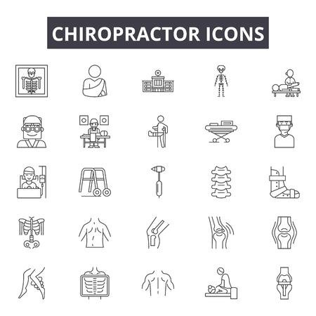 Iconos de línea de quiropráctico para web y móvil. Signos de trazo editables. Ilustraciones del concepto de esquema de quiropráctico Ilustración de vector