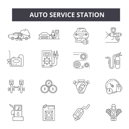 Auto service station line icons for web and mobile. Editable stroke signs. Auto service station  outline concept illustrations