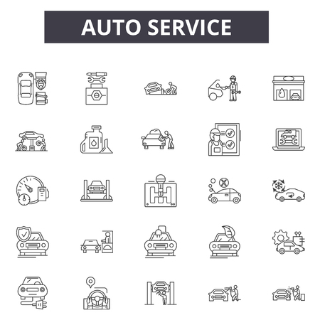 Auto service line icons for web and mobile. Editable stroke signs. Auto service  outline concept illustrations