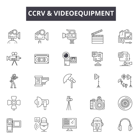 Cctv & videoequipment line icons for web and mobile. Editable stroke signs. Cctv & videoequipment  outline concept illustrations Stock Vector - 119391322