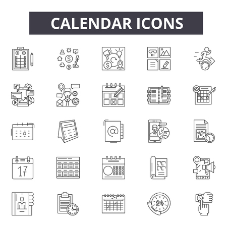 Calendar line icons for web and mobile. Editable stroke signs. Calendar  outline concept illustrations Illustration