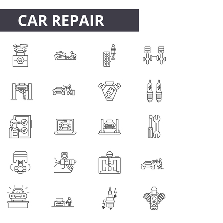 Car repair line icons for web and mobile. Editable stroke signs. Car repair  outline concept illustrations Ilustração