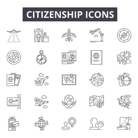 Symbole für die Staatsbürgerschaftslinie für Web und Mobile. Bearbeitbare Strichzeichen. Illustrationen zum Konzept der Staatsbürgerschaft