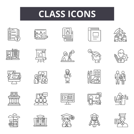 Class line icons for web and mobile. Editable stroke signs. Class outline concept illustrations