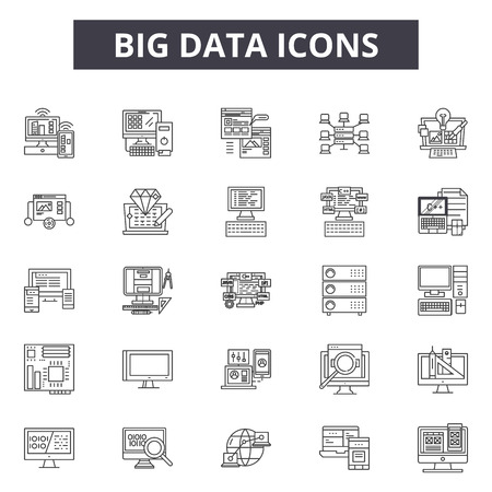 Big data line icons for web and mobile. Editable stroke signs. Big data  outline concept illustrations