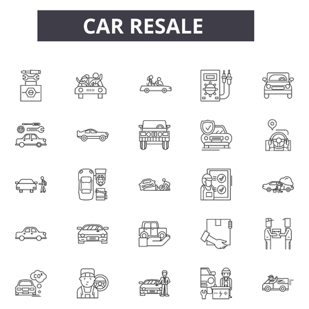Car resale line icons for web and mobile. Editable stroke signs. Car resale  outline concept illustrations