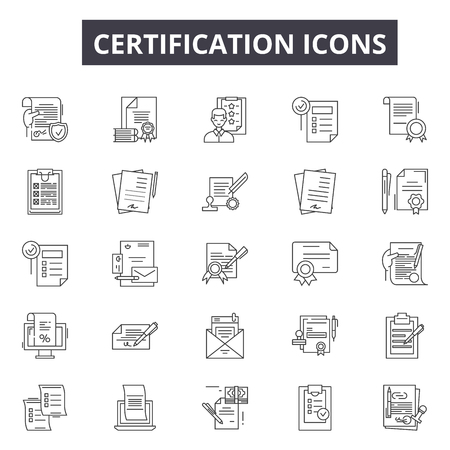 Certification line icons for web and mobile. Editable stroke signs. Certification  outline concept illustrations Ilustracja