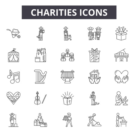 Charities line icons for web and mobile design. Editable stroke signs. Charities outline concept illustrations Illustration