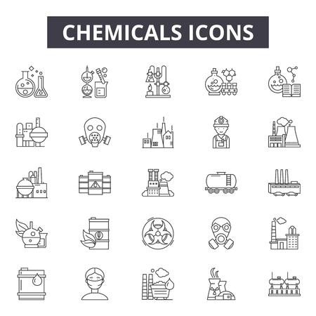 Chemicals line icons for web and mobile. Editable stroke signs. Chemicals outline concept illustrations