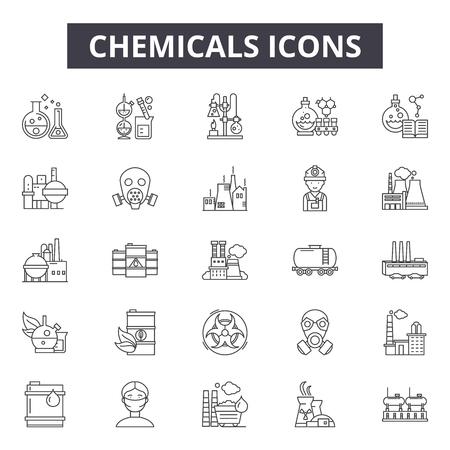 Chemikalien-Liniensymbole für Web und Mobile. Bearbeitbare Strichzeichen. Chemikalien skizzieren Konzeptillustrationen