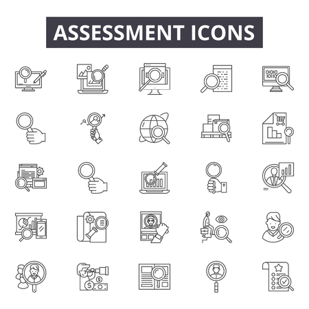Assessment line icons for web and mobile. Editable stroke signs. Assessment  outline concept illustrations 向量圖像