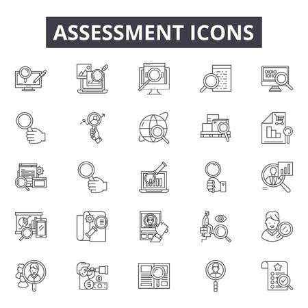 Bewertungsliniensymbole für Web und Mobile. Bearbeitbare Strichzeichen. Illustrationen zum Konzept der Bewertungsskizze